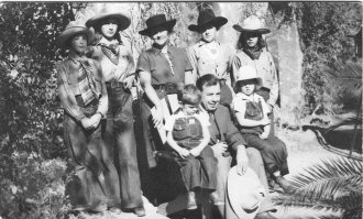 The Priestley family dressed as cowboys, Arizona, 1936.  Photographer unknown.  Archive ref: PRI 21/5/5.